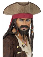 Pirate Leather Look Hat With Attached Dreadlocks